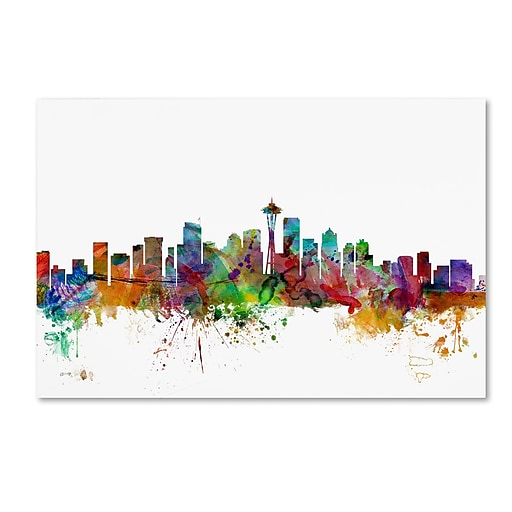"Trademark Fine Art ''Seattle Washington Skyline'' by Michael Tompsett 30"" x 47"" Canvas Art (MT0549-C3047GG)"