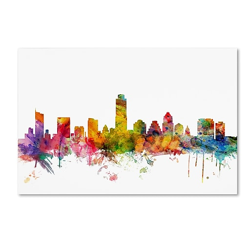 "Trademark Fine Art ''Austin Texas Skyline'' by Michael Tompsett 30"" x 47"" Canvas Art (MT0556-C3047GG)"