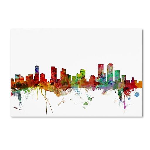 "Trademark Fine Art ''Denver Colorado Skyline'' by Michael Tompsett 22"" x 32"" Canvas Art (MT0558-C2232GG)"