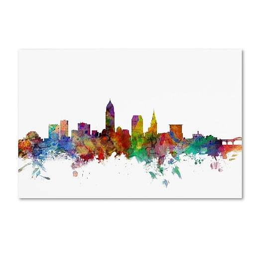 "Trademark Fine Art ''Cleveland Ohio Skyline'' by Michael Tompsett 30"" x 47"" Canvas Art (MT0559-C3047GG)"