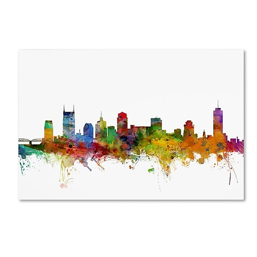 "Trademark Fine Art ''Nashville Tennessee Skyline'' by Michael Tompsett 30"" x 47"" Canvas Art (MT0561-C3047GG)"