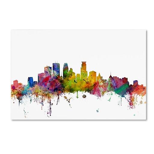"Trademark Fine Art ''Minneapolis Minnesota Skyline'' by Michael Tompsett 30"" x 47"" Canvas Art (MT0563-C3047GG)"