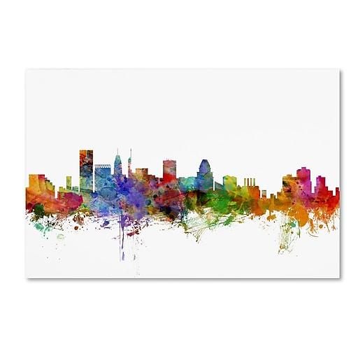 "Trademark Fine Art ''Baltimore Maryland Skyline'' by Michael Tompsett 12"" x 19"" Canvas Art (MT0565-C1219GG)"