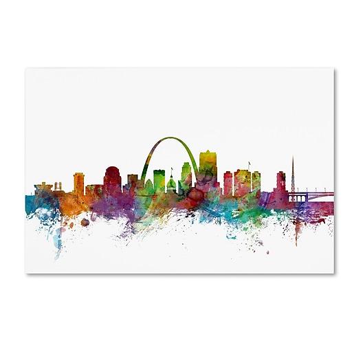 "Trademark Fine Art ''St. Louis Missouri Skyline'' by Michael Tompsett 30"" x 47"" Canvas Art (MT0568-C3047GG)"