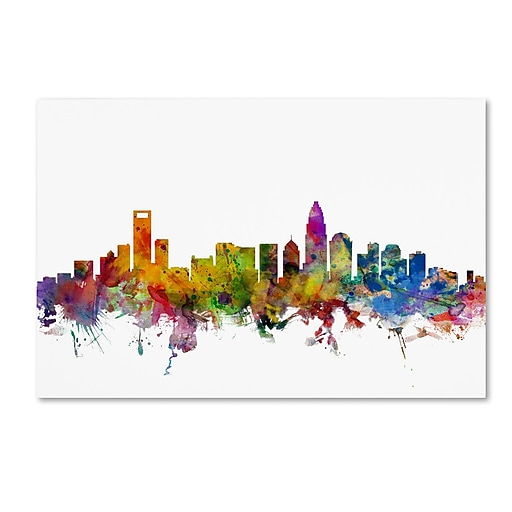 "Trademark Fine Art ''Charlotte North Carolina Skyline'' by Michael Tompsett 12"" x 19"" Canvas Art (MT0573-C1219GG)"