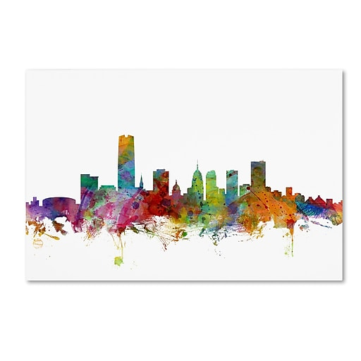 "Trademark Fine Art ''Oklahoma City Skyline'' by Michael Tompsett 16"" x 24"" Canvas Art (MT0574-C1624GG)"