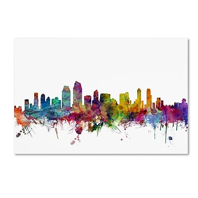 Trademark Fine Art ''San Diego California Skyline'' by Michael Tompsett 30