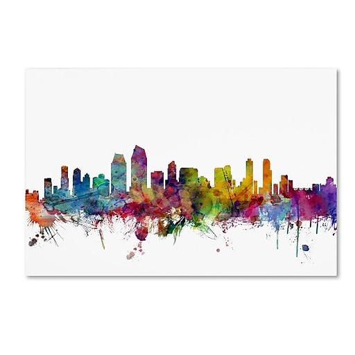 "Trademark Fine Art ''San Diego California Skyline'' by Michael Tompsett 22"" x 32"" Canvas Art (MT0575-C2232GG)"