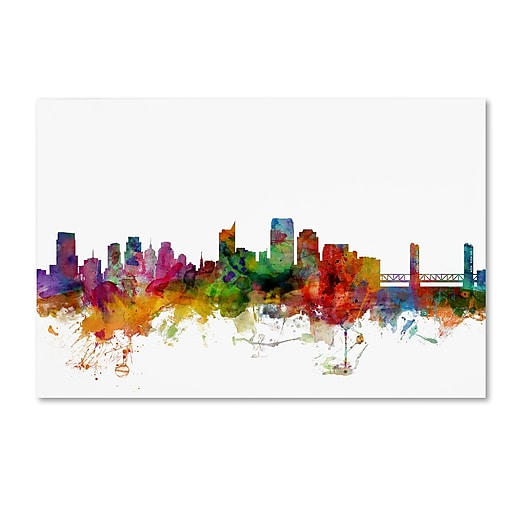 "Trademark Fine Art ''Sacramento California Skyline'' by Michael Tompsett 12"" x 19"" Canvas Art (MT0580-C1219GG)"