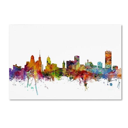 """Trademark Fine Art ''Buffalo New York Skyline'' by Michael Tompsett 12"""" x 19"""" Canvas Art (MT0585-C1219GG)"""