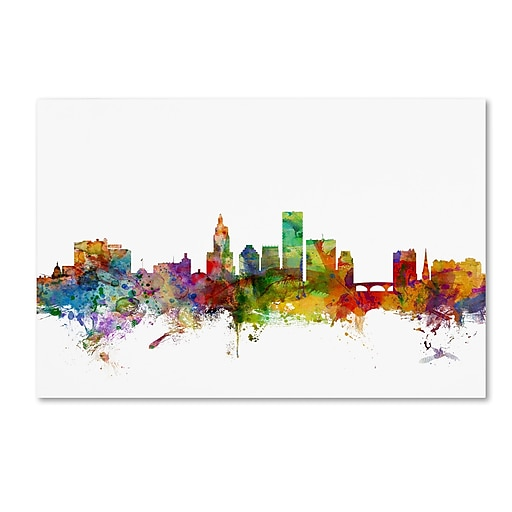 "Trademark Fine Art ''Providence Rhode Island Skyline'' by Michael Tompsett 22"" x 32"" Canvas Art (MT0588-C2232GG)"