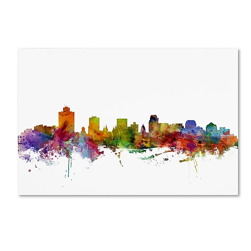 "Trademark Fine Art ''Salt Lake City Skyline'' by Michael Tompsett 30"" x 47"" Canvas Art (MT0589-C3047GG)"
