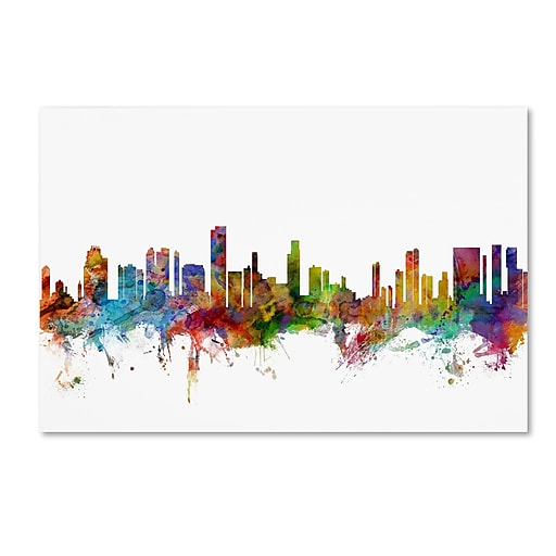 "Trademark Fine Art ''Honolulu Hawaii Skyline'' by Michael Tompsett 30"" x 47"" Canvas Art (MT0590-C3047GG)"