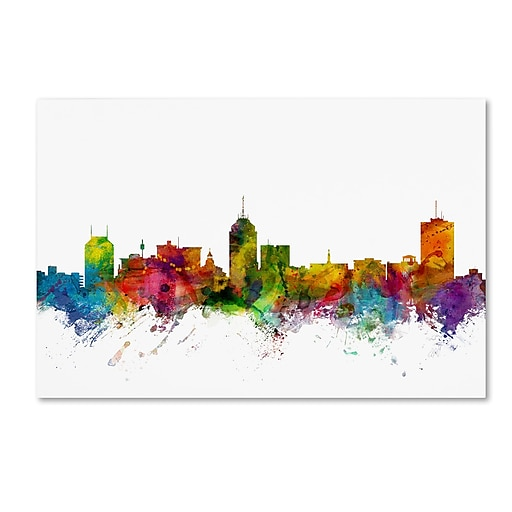 "Trademark Fine Art ''Fresno California Skyline'' by Michael Tompsett 30"" x 47"" Canvas Art (MT0591-C3047GG)"