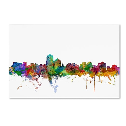 "Trademark Fine Art ''Albuquerque New Mexico Skyline'' by Michael Tompsett 22"" x 32"" Canvas Art (MT0592-C2232GG)"