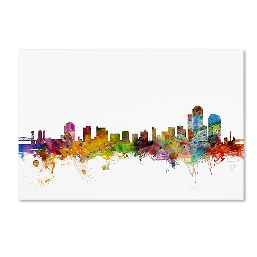 "Trademark Fine Art ''Wilmington Delaware Skyline'' by Michael Tompsett 16"" x 24"" Canvas Art (MT0593-C1624GG)"