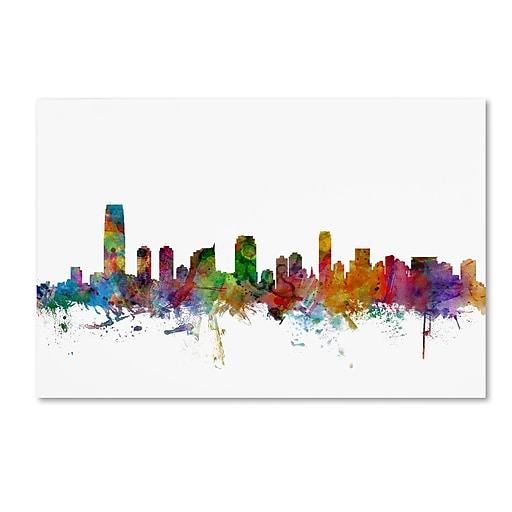 """Trademark Fine Art ''Jersey City New Jersey Skyline'' by Michael Tompsett 30"""" x 47"""" Canvas Art (MT0594-C3047GG)"""