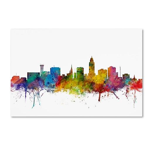 "Trademark Fine Art ''Lincoln Nebraska Skyline'' by Michael Tompsett 12"" x 19"" Canvas Art (MT0595-C1219GG)"