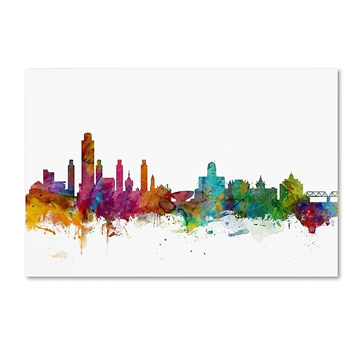 "Trademark Fine Art ''Albany New York Skyline'' by Michael Tompsett 16"" x 24"" Canvas Art (MT0599-C1624GG)"