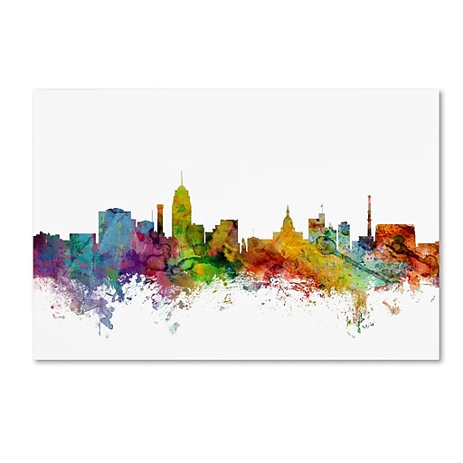 "Trademark Fine Art ''Lansing Michigan Skyline'' by Michael Tompsett 30"" x 47"" Canvas Art (MT0602-C3047GG)"