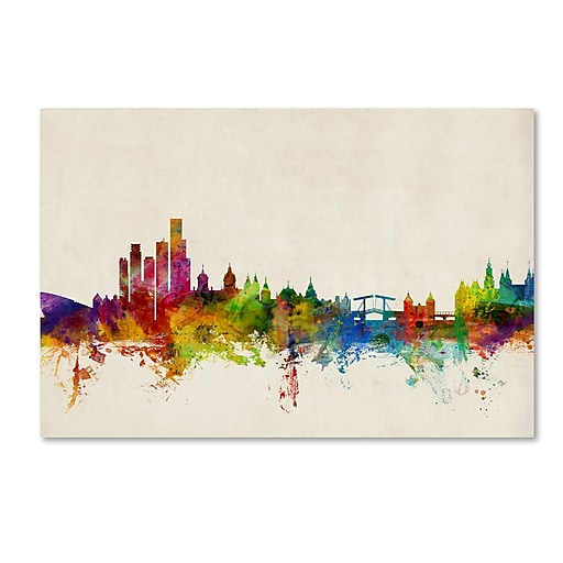 "Trademark Fine Art ''Amsterdam The Netherlands Skyline'' by Michael Tompsett 12"" x 19"" Canvas Art (MT0605-C1219GG)"