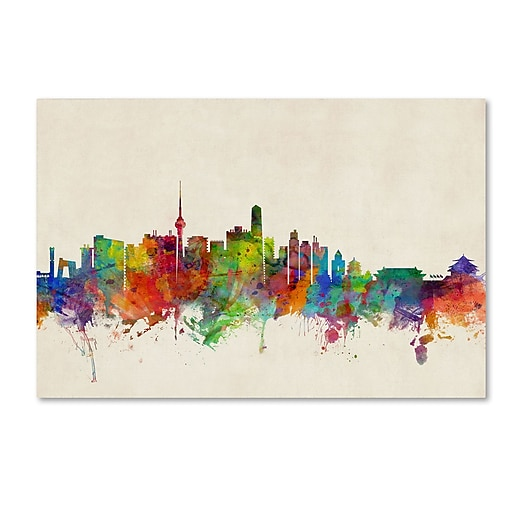 "Trademark Fine Art ''Beijing China Skyline'' by Michael Tompsett 22"" x 32"" Canvas Art (MT0608-C2232GG)"