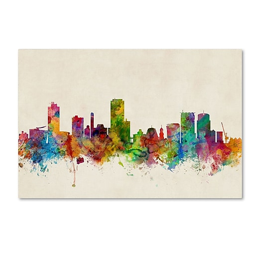 "Trademark Fine Art ''Wellington New Zealand Skyline'' by Michael Tompsett 12"" x 19"" Canvas Art (MT0610-C1219GG)"