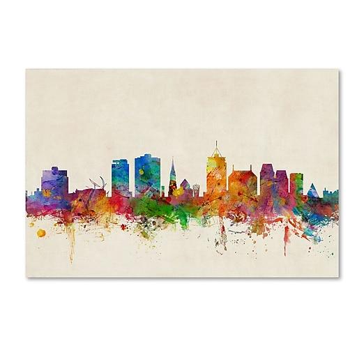 """Trademark Fine Art ''Christchurch New Zealand Skyline'' by Michael Tompsett 12"""" x 19"""" Canvas Art (MT0611-C1219GG)"""