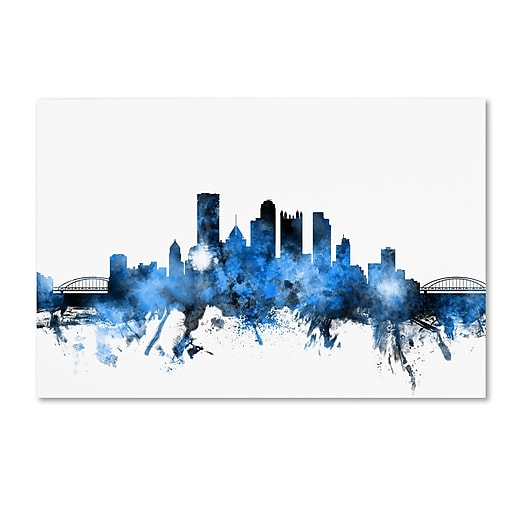 "Trademark Fine Art ''Pittsburgh Pennsylvania Skyline II'' by Michael Tompsett 30"" x 47"" Canvas Art (MT0616-C3047GG)"