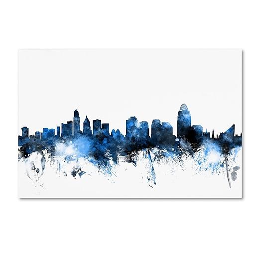 "Trademark Fine Art ''Cincinnati Ohio Skyline II'' by Michael Tompsett 30"" x 47"" Canvas Art (MT0618-C3047GG)"