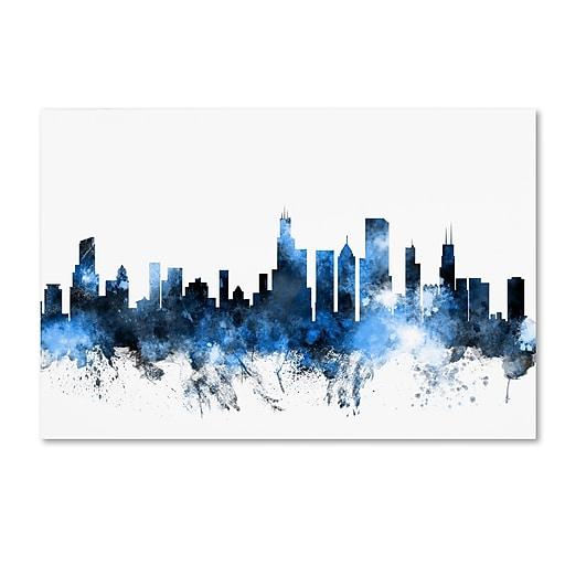 "Trademark Fine Art ''Chicago Illinois Skyline II'' by Michael Tompsett 16"" x 24"" Canvas Art (MT0621-C1624GG)"