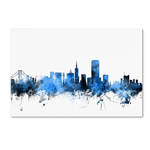 "Trademark Fine Art ''San Francisco City Skyline II'' by Michael Tompsett 12"" x 19"" Canvas Art (MT0623-C1219GG)"