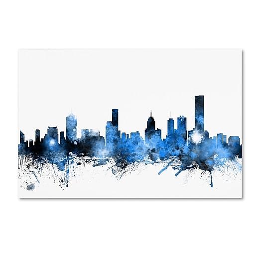 "Trademark Fine Art ''Melbourne Australia Skyline'' by Michael Tompsett 22"" x 32"" Canvas Art (MT0627-C2232GG)"