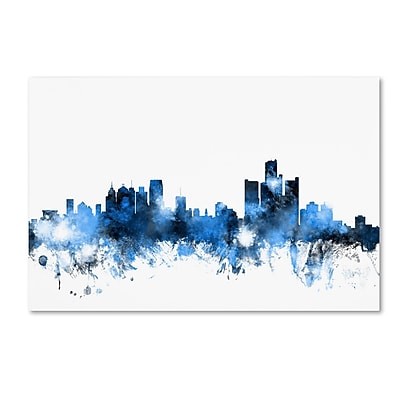 Trademark Fine Art ''Detroit Michigan Skyline II'' by Michael Tompsett 12