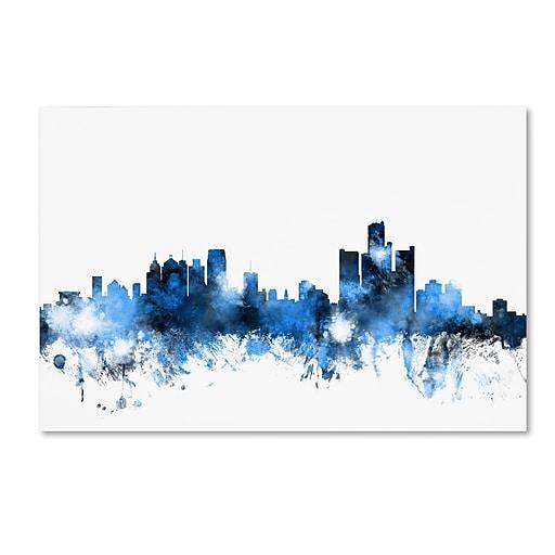 "Trademark Fine Art ''Detroit Michigan Skyline II'' by Michael Tompsett 16"" x 24"" Canvas Art (MT0628-C1624GG)"