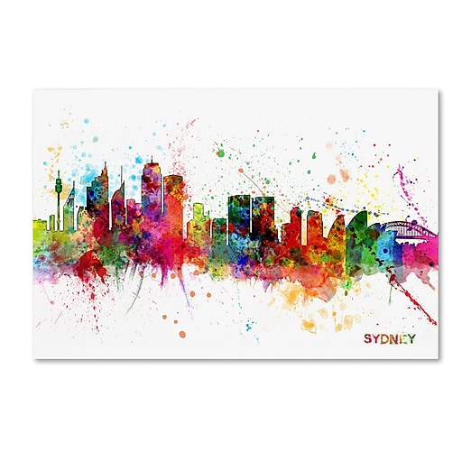 "Trademark Fine Art ''Sydney Australia Skyline II'' by Michael Tompsett 16"" x 24"" Canvas Art (MT0631-C1624GG)"