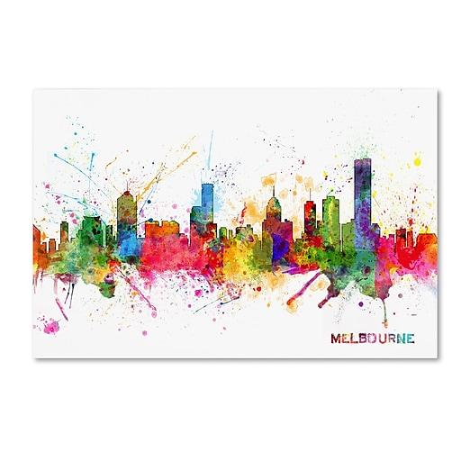 "Trademark Fine Art ''Melbourne Skyline'' by Michael Tompsett 30"" x 47"" Canvas Art (MT0632-C3047GG)"