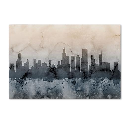 "Trademark Fine Art ''Chicago Illinois Skyline V'' by Michael Tompsett 30"" x 47"" Canvas Art (MT0639-C3047GG)"