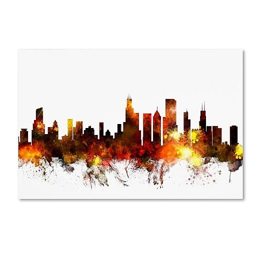"Trademark Fine Art ''Chicago Illinois Skyline VI'' by Michael Tompsett 12"" x 19"" Canvas Art (MT0642-C1219GG)"