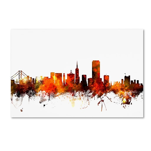 "Trademark Fine Art ''San Francisco City Skyline III'' by Michael Tompsett 12"" x 19"" Canvas Art (MT0643-C1219GG)"