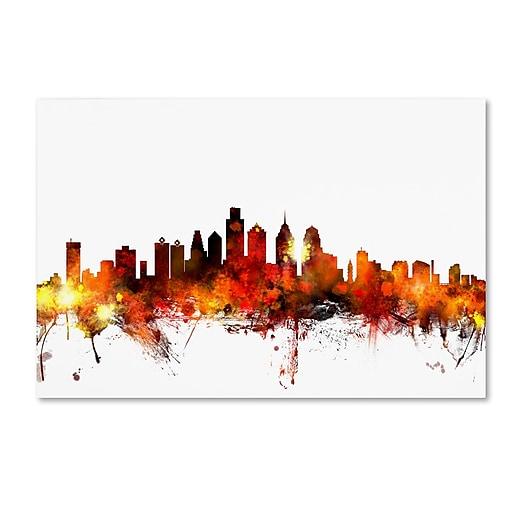 "Trademark Fine Art ''Philadelphia Pennsylvania Skyline III'' by Michael Tompsett 22"" x 32"" Canvas Art (MT0644-C2232GG)"
