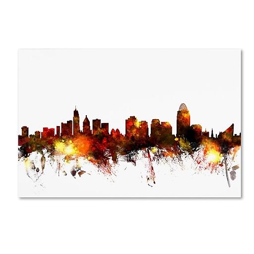 "Trademark Fine Art ''Cincinnati Ohio Skyline III'' by Michael Tompsett 12"" x 19"" Canvas Art (MT0649-C1219GG)"