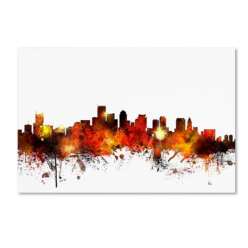 "Trademark Fine Art ''Boston Massachusetts Skyline II'' by Michael Tompsett 16"" x 24"" Canvas Art (MT0651-C1624GG)"