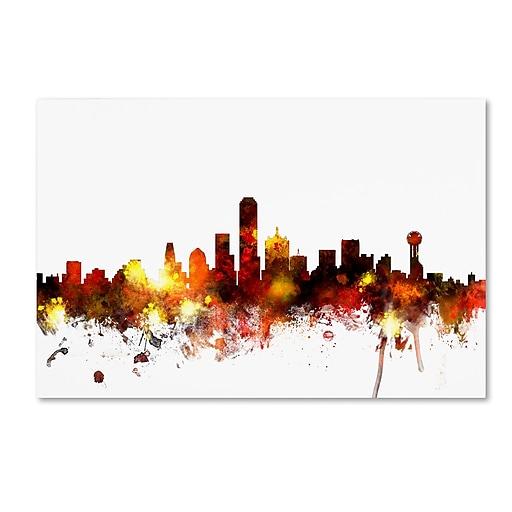 "Trademark Fine Art ''Dallas Texas Skyline II'' by Michael Tompsett 22"" x 32"" Canvas Art (MT0655-C2232GG)"