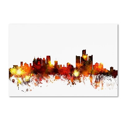 Trademark Fine Art ''Detroit Michigan Skyline III'' by Michael Tompsett 22