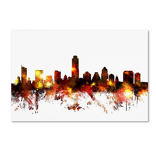 "Trademark Fine Art ''Austin Texas Skyline III'' by Michael Tompsett 22"" x 32"" Canvas Art (MT0661-C2232GG)"
