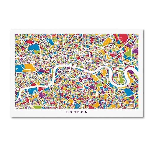 """Trademark Fine Art ''London England Street Map'' by Michael Tompsett 12"""" x 19"""" Canvas Art (MT0662-C1219GG)"""