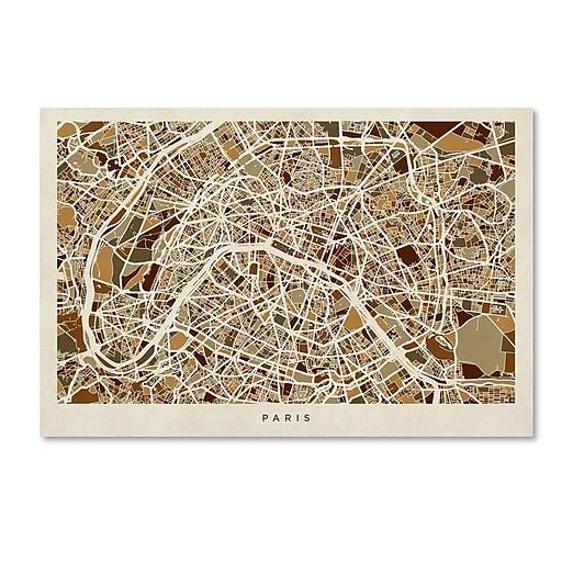 """Trademark Fine Art ''Paris France Street Map'' by Michael Tompsett 30"""" x 47"""" Canvas Art (MT0664-C3047GG)"""