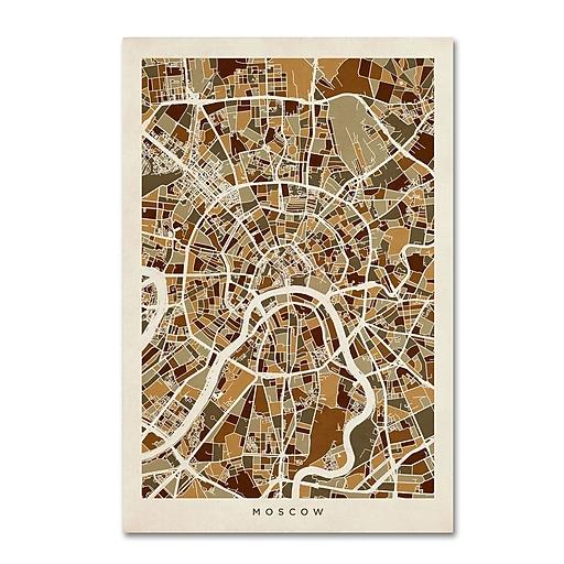 """Trademark Fine Art ''Moscow City Street Map'' by Michael Tompsett 12"""" x 19"""" Canvas Art (MT0667-C1219GG)"""