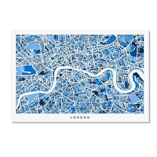 """Trademark Fine Art ''London England Street Map 3'' by Michael Tompsett 12"""" x 19"""" Canvas Art (MT0668-C1219GG)"""
